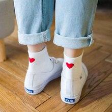 2019 Spring Summer Cotton Women Heart Socks Cute Girls Kawaii Lovely Red Heel High Quality Thin Cool Love