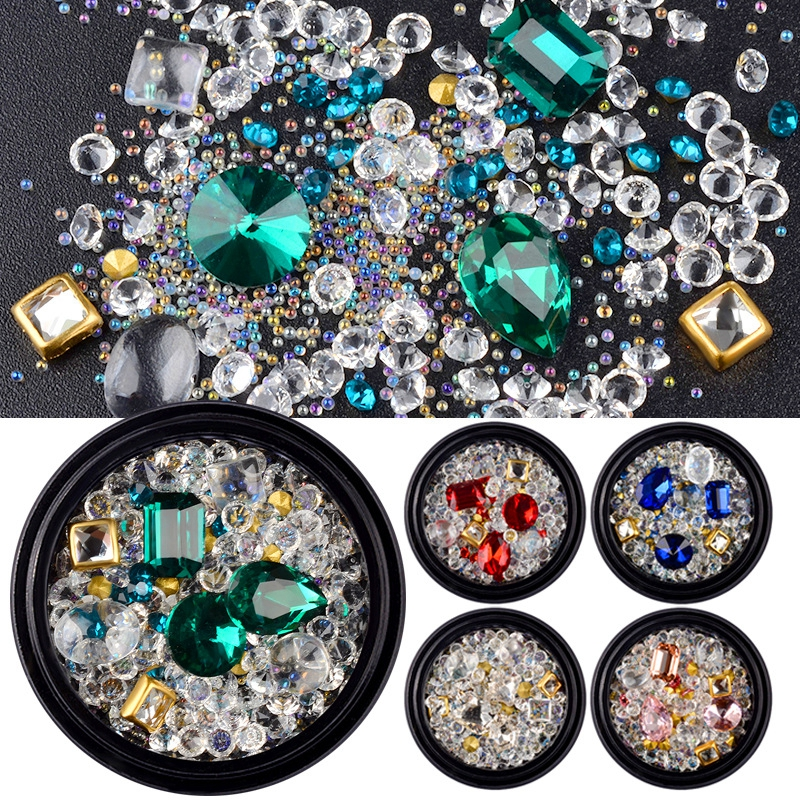 1 Box 3D Nail Accessories Rivets Metal Alloy Rhinestones Diamond Mixed DIY Nail Art Decorations For Manicure Tools HZ07-12 10g box clear nail caviar micro beads 3d glitter mini beans tiny tips decorations diy nail art rhinestones manicure accessories