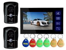 Freeship por RFID Impermeable Cámara de 7 Pulgadas LCD Color de Vídeo Portero Automático de la puerta de Intercomunicación Timbre video Portero cámara 2V1