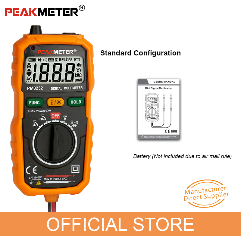 Купить с кэшбэком Official PEAKMETER New Hot Sale Non-Contact Mini Digital Multimeter DC AC Voltage Current Tester PM8232 Ammeter Multi tester