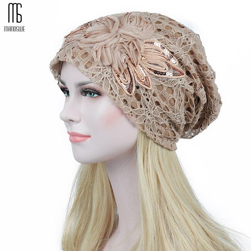 Damen herbst/winter spitze doppel blume mond warme aushöhlen spitze motorhaube femme Komfortable casual hüte Frauen Skullies
