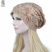 цена на ladies' autumn/winter lace double flower moon warm hollow out lace bonnet femme Comfortable casual hats Women Skullies