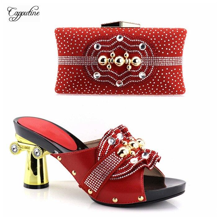 Популярные красные со стразами высокий каблук тапочки обувь и сумки набор для свадьбы/вечерние YH2018-01, высота каблука 9,5 см