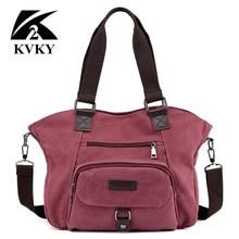 Kvky marca bolsas de lona das mulheres casuais sacos de ombro da lona do vintage crossbody sacos mensageiro feminino tote bags trapézio