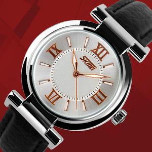 Image 3 - 2020 SKMEI 9075 Women Watches Waterproof Leather Strap Fashion Quartz Watches Luxury Brand Wristwatches Relogio Feminino XFCS