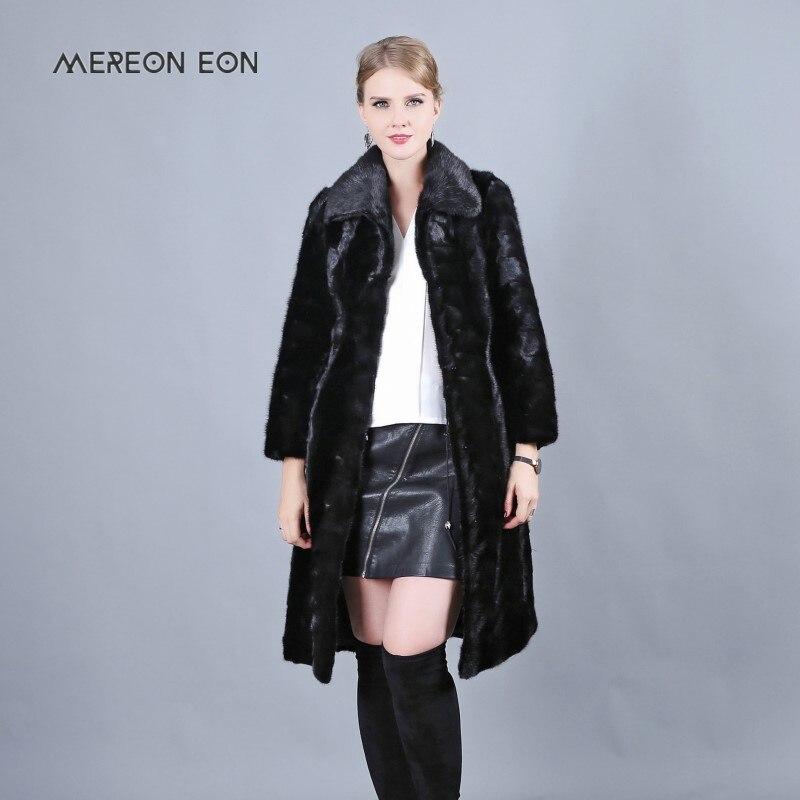 2018 naturale della pelle scamosciata cappotto di pelliccia di visone Russo giacca a vento risvolto di modo delle signore cappotto lungo delle donne di inverno cappotto delle donne parco all'aperto pelliccia