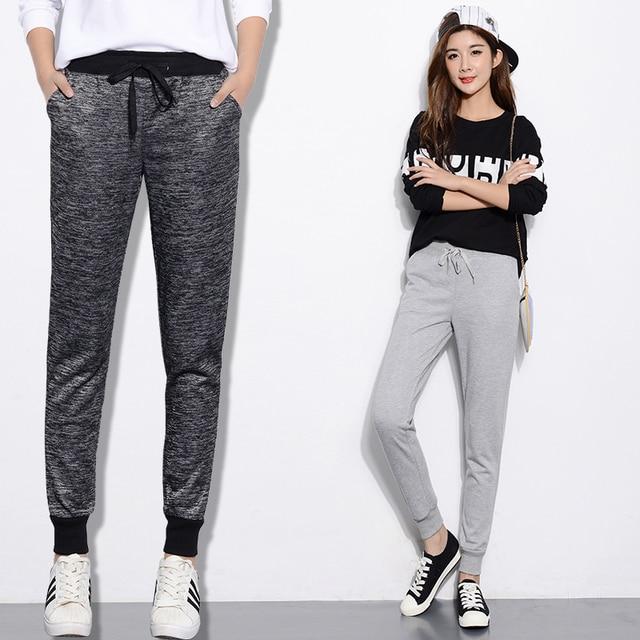 Autumn New Plus Size 2XL 3XL Women Casual Sweatpants Joggers Harem Pants Black Gray