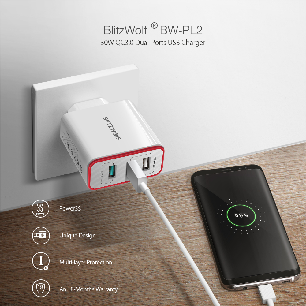 BlitzWolf BW-PL2 30W QC3.0 FCP 3 Ports Universal USB Charger Travel Wall Charger EU Adapter for iPhone For Huawei For Xiaomi