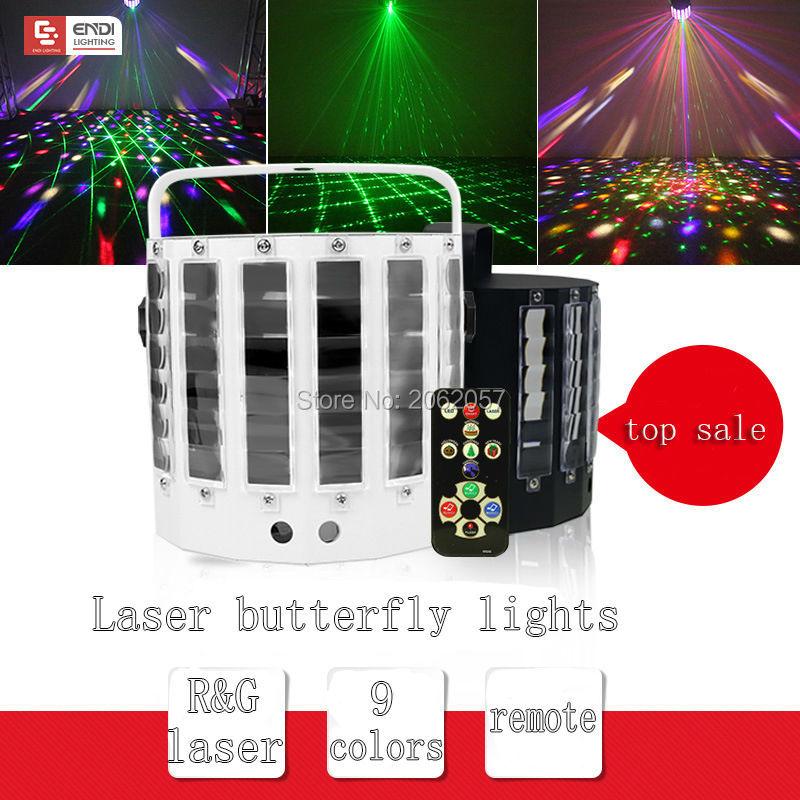 Venta caliente 9 colores láser luz de mariposa DJ disco luz láser Control de sonido bola mágica luz para bar fiesta