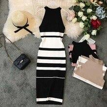 NiceMix New 2019 Women Summer Dress Halter Striped Sleeveless Bodycon Sundress Casual Long Ladies Office Dresses Vestidos