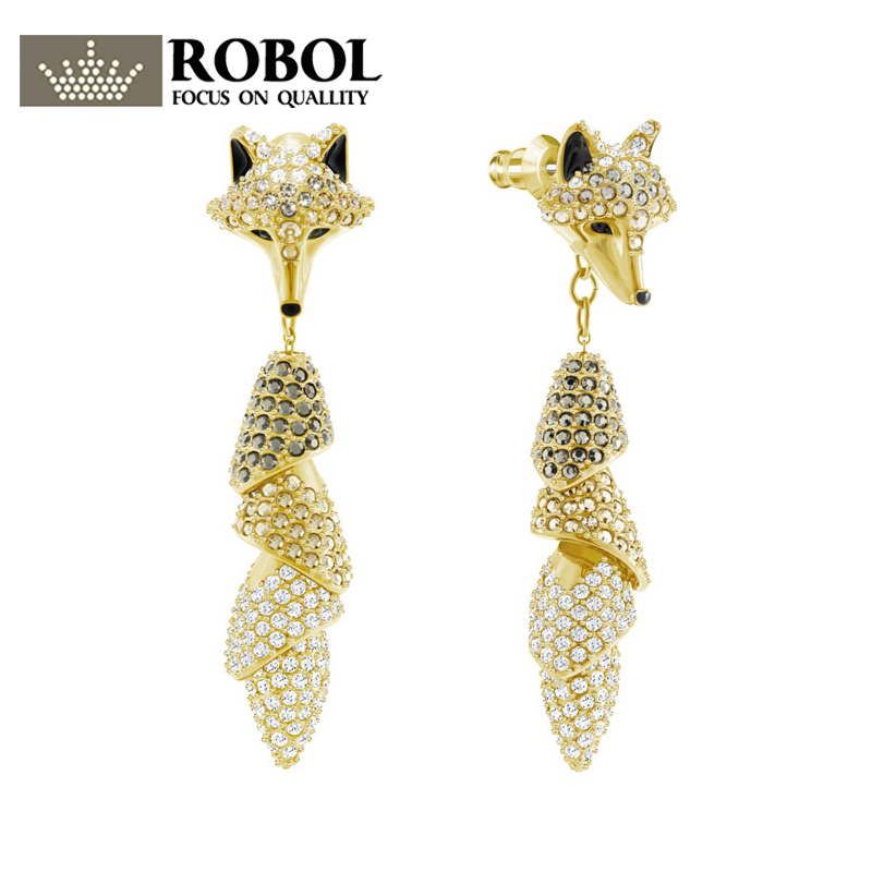 ROBOL Original SWA New Crystal New Gold Fox Earrings 5409357 Womens Gold Earrings Stud Womens Fashion Jewelry For WomenROBOL Original SWA New Crystal New Gold Fox Earrings 5409357 Womens Gold Earrings Stud Womens Fashion Jewelry For Women