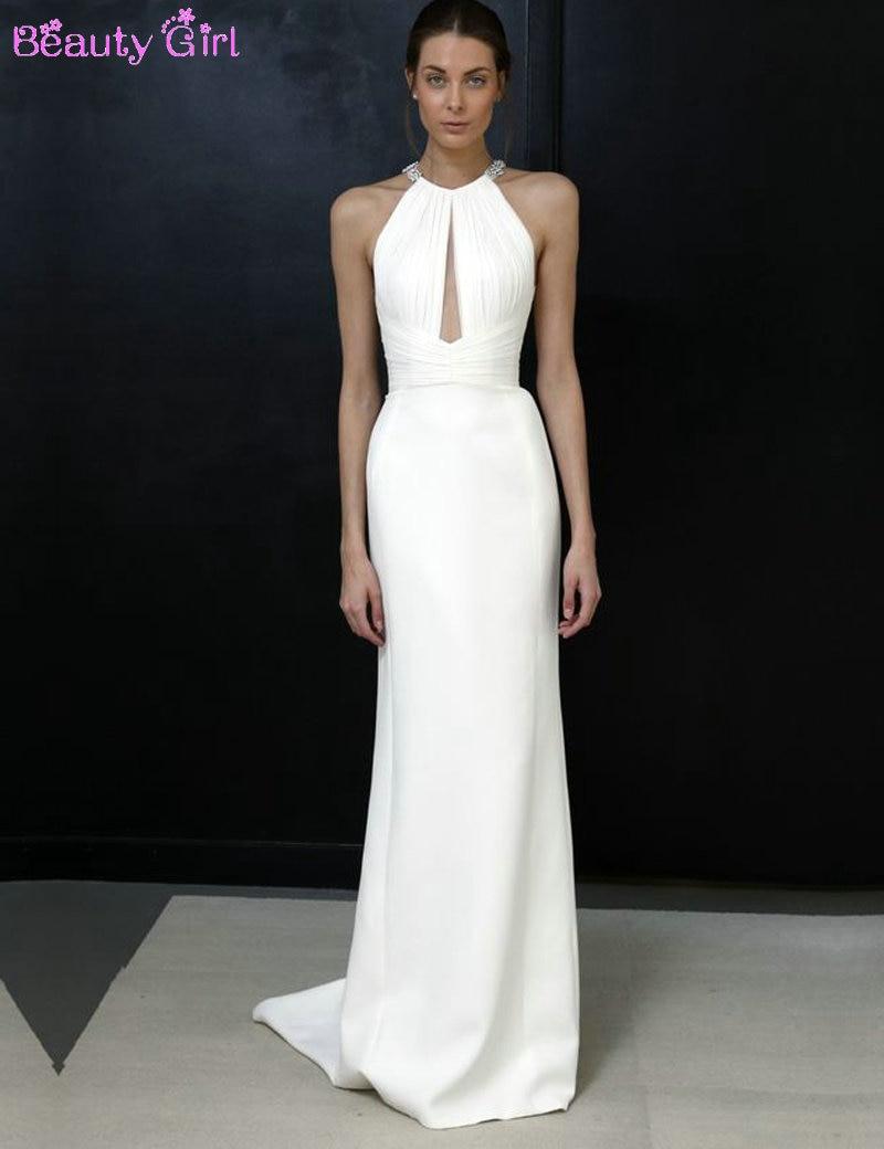 Fashion Design Halter Sleeveless Straight Long White Evening ...