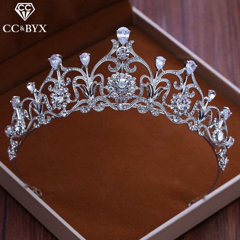 CC Tiaras And Crowns Hairbands CZ Stone Water Drop Princess Engagement Wedding Hair Accessories For Bridal Fine Jewelry XY101