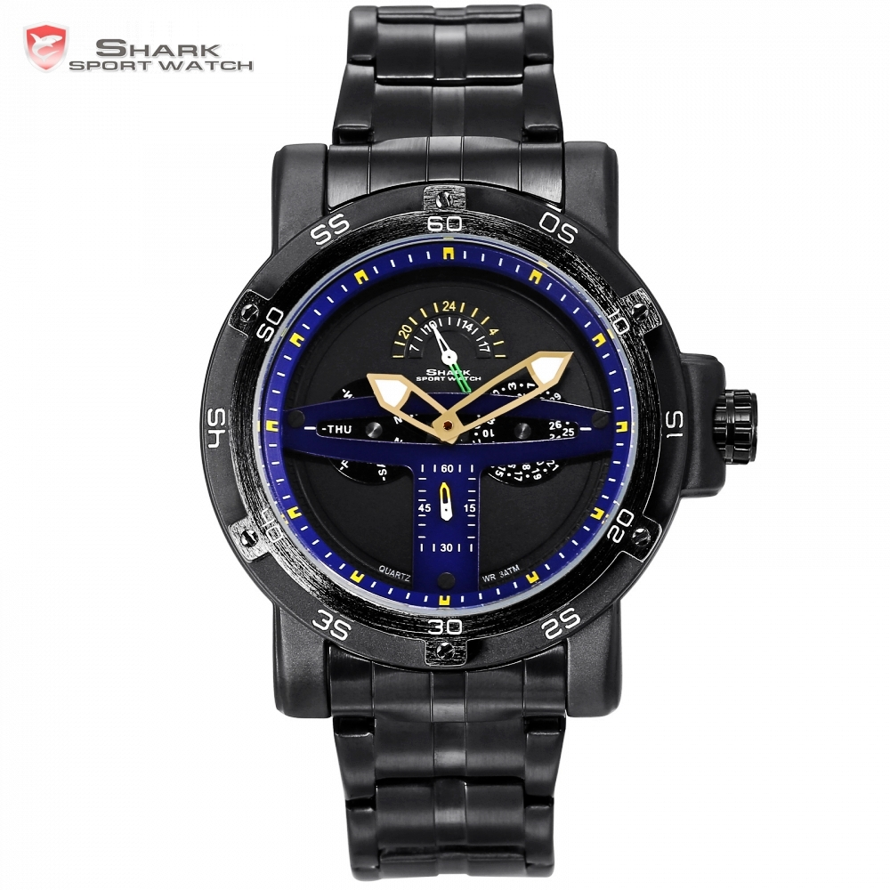 Greenland Shark Sport Watch Blue Auto Date Relogio Masculino Calendar Zegarek Steel Band Clock Male Quartz Watches +Box  /SH430 greenland shark sport watch men luxury