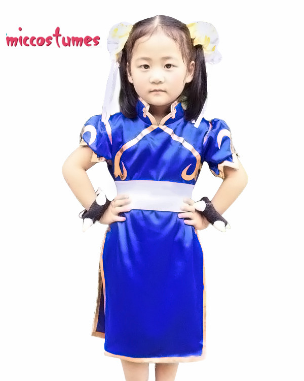 Game Street Fighter Chun Li Kids Cosplay Costume Blue Cheongsam Halloween Party Dress for Girl