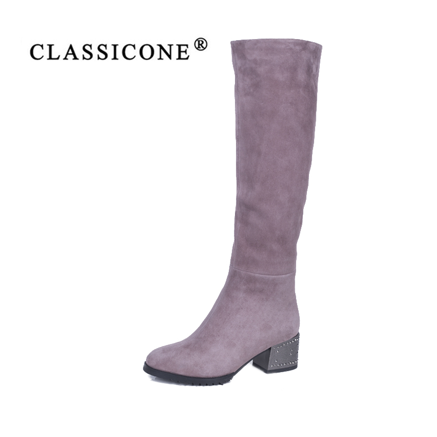 CLASSICONE 2018 shoes woman winter wool snow knee boots genuine leather inside warm brand fashion high