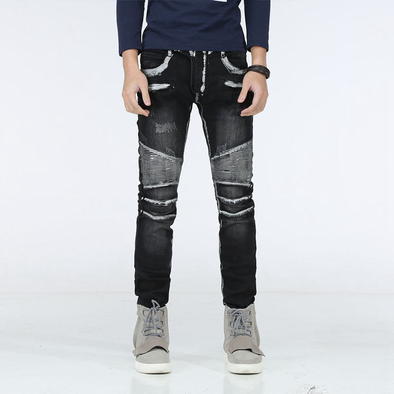 New Distressed Biker Jeans Men High Quality Mens Casual Slim Elastic Straight Denim Biker Jeans Skinny Jeans Men Pants Plus Size 2016 high quality mens jeans blue color printed jeans for men ripped button jeans casual pants quality cotton denim jeans