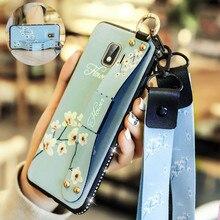 Wrist Strap Hand Band Phone Case for Samsung Galaxy J8 J6 J4 2018 TPU Side Drill Bracket Lanyard Cover Plus