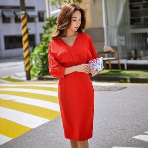 Image 2 - Dabuwawa femmes élégant rouge col en v élégant robe printemps nouveau longue moulante Midi robe lanterne manches robes de fête décontracté