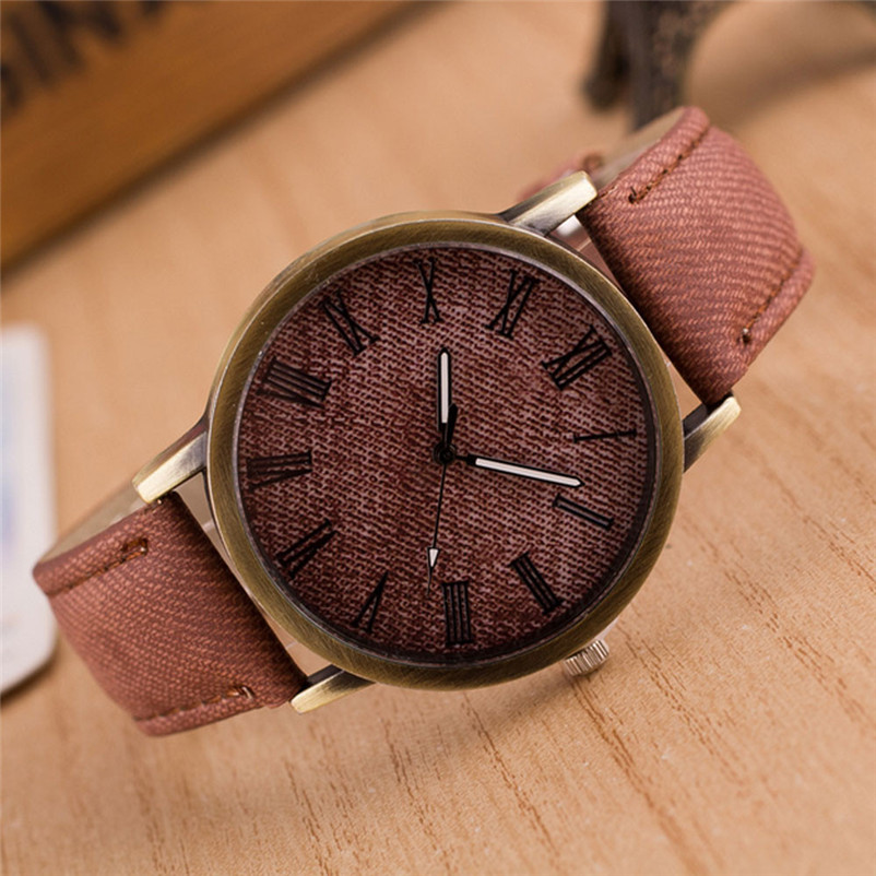 Delicate Hot! 2018watch men Fashion Luxury Retro Vogue Wrist Watch Cowboy Leather Band Analog Quartz Watch woman s retro flower dial analog quartz wrist watch w pu leather band yellow brass 1 x 377