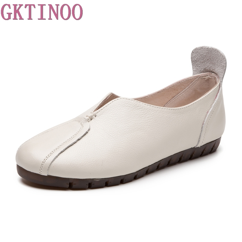 GKTINOO Loafers 2018 Spring Fashion Women Shoes Handmade Casual Shoe Genuine Leather Soft Flat Driving Shoe Women Flats gktinoo bow tassel loafers shoe for women handmade genuine leather soft flats autumn driving shoe round toe women flats