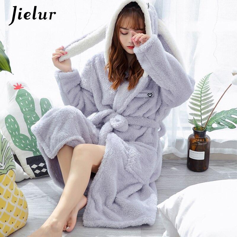 Jielur corail velours peignoir femmes dessin animé mignon chaud à capuche Robe dames décontracté lapin flanelle Kimono Robes de bain Robes de chambre