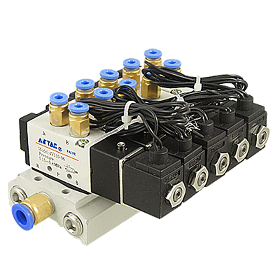 DC 24V 5/32 Quick Fitting 2 Position 5 Way 5 Solenoid Valve w Base Muffler 5 way pilot solenoid valve sy3220 4d 01
