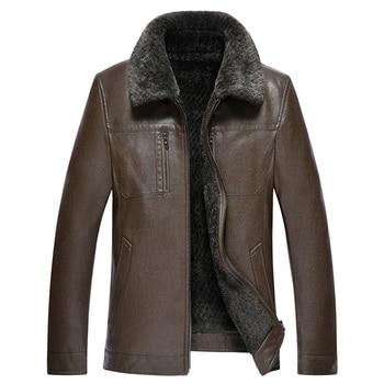 2020 New Winter Warm Jackets Men Short Fur Collar Velvet Inside jaqueta de couro Leather Jacket Men Motorcycle Biker Jacket Men