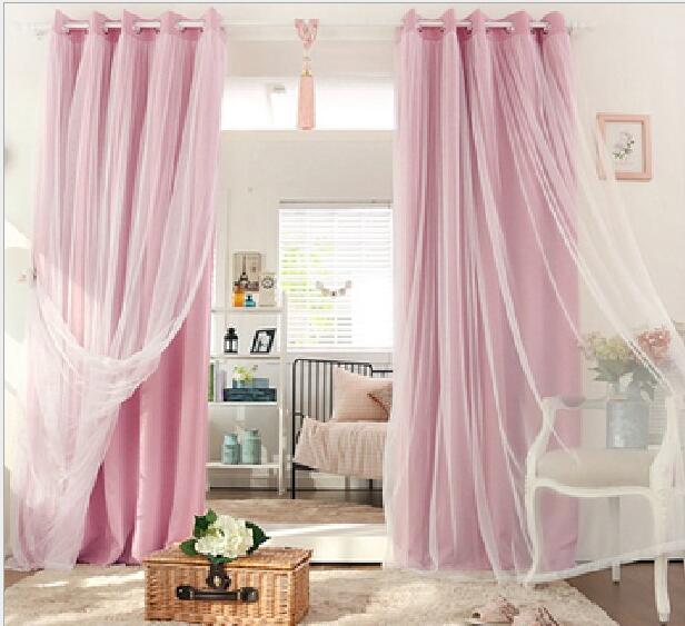 double curtains for living room new arrival color layer window 19329
