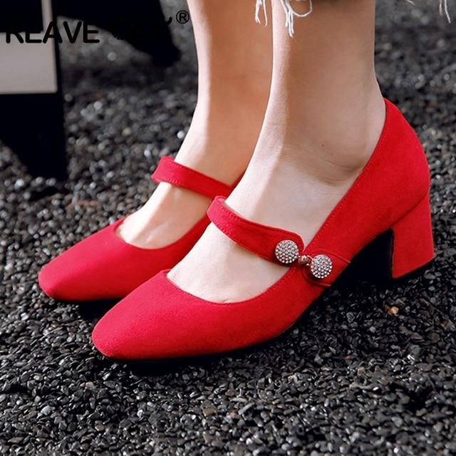 7b3270d896c REAVE CAT Shoes woman High heels Ladies pumps Flock Buckle Rhinestone  Glitter Square heels Round toe Black Red Lotus Cute A1650