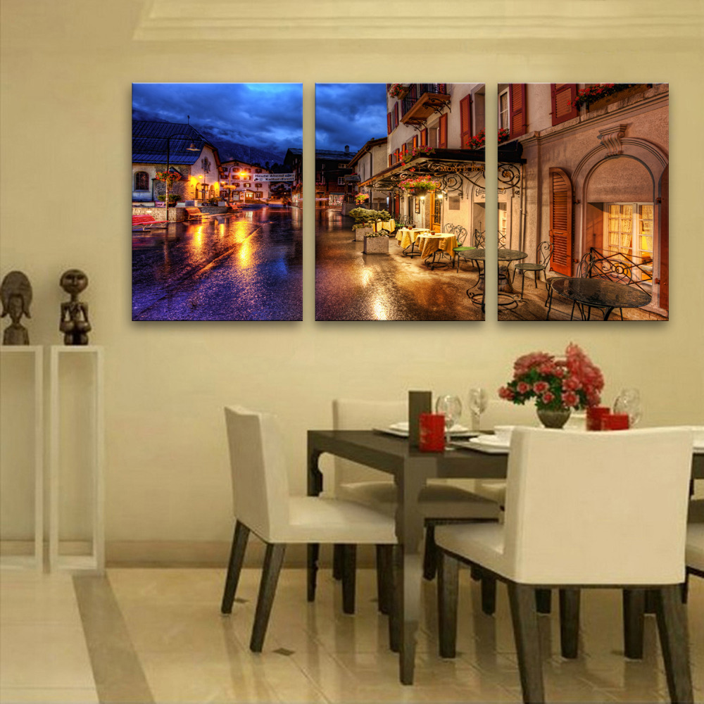 Stretched Canvas Prints Tree And moon LED Flashing Optical Fiber ...