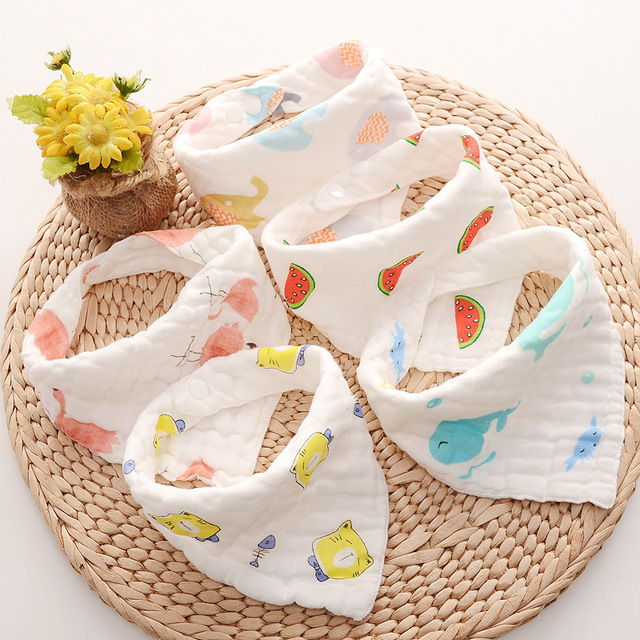 8-layer Muslin Baby Bibs 100% Natural Cotton Soft Baberos Bebe Animal Bandana Infant Smock Burp Cloth Feeding Saliva Towel