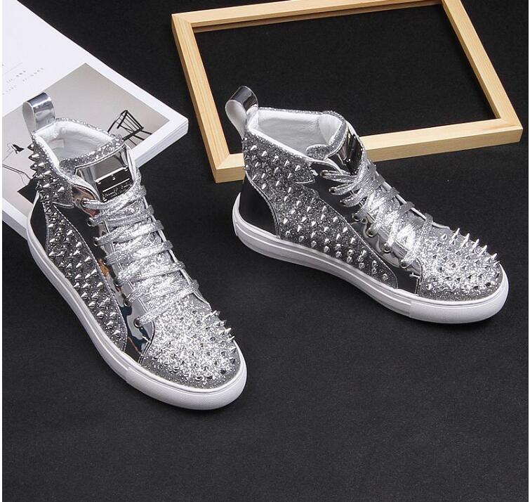 Noir En Hommes Luxe Haute Caoutchouc 2019 Style Pour blanc Mâle High De Rrivet Causales Top Mode Qualité Black Britannique Or Chaussures Fond 4Sq6C