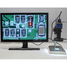 Cheaper 2.0MP Digital Industrial Microscope Camera VGA Output+8X-130X Optical C-mount Lens+Adjustable LED lights+Stand