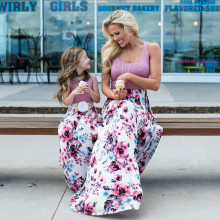 Family Matching Clothes Mother Daughter Dresses Sleeveless Floral Long Dress and Mom
