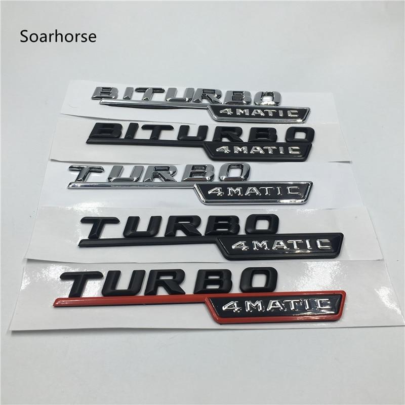 Soarhorse 1 Paire BITURBO TURBO 4 MATIC Emblème Badge Lettres Avant De la Voiture Pare-chocs Autocollants pour Mercedes Benz AMG 4 Matic