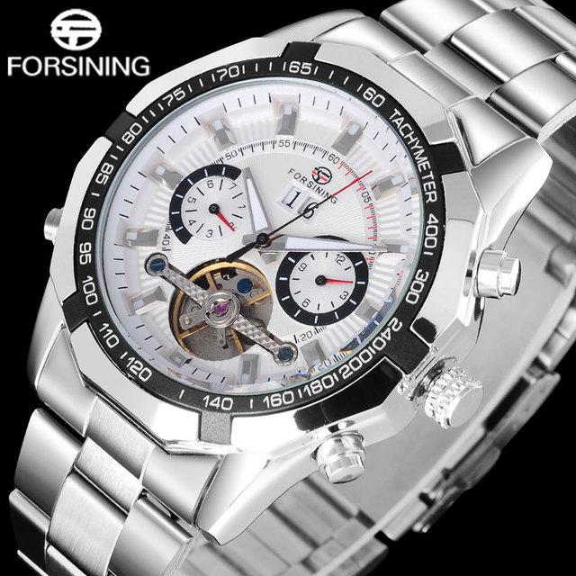 Forsining turbilhão relógios mecânicos dos homens Da Marca de moda de Luxo esqueleto de aço inoxidável banda men casual relógios de pulso de prata