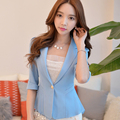 2016 Fashion Jacket Women Suit Foldable Half Sleeves Lapel Coat Candy Color casual Blazer Single Button Vogue work wear Jackets