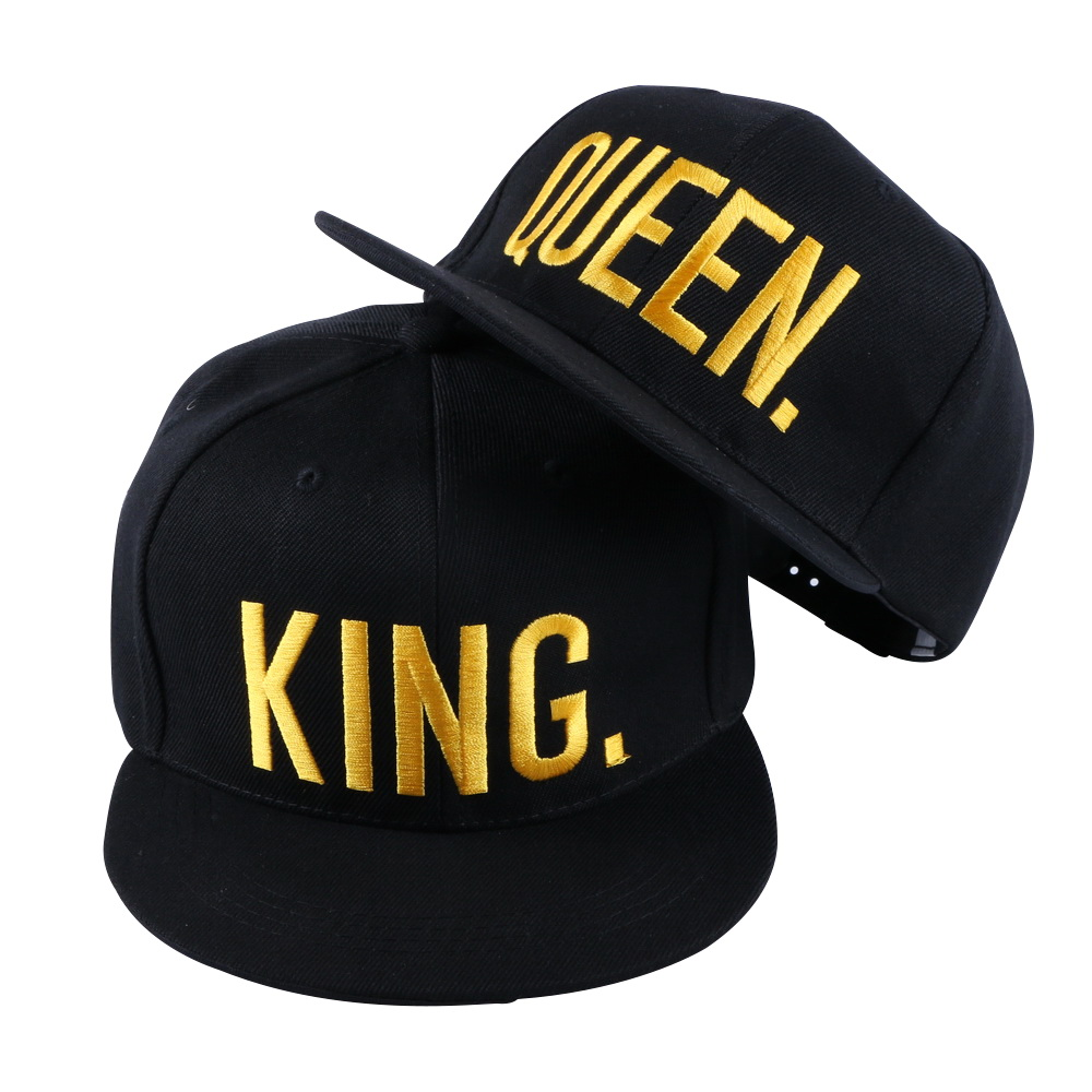 wholesale women men brand snapback cap hat gold color embroidery KING QUEEN letter sports baseball caps girl boy casquette gorro 2016 geebro new arrival brand lion letter snapback baseball cap outdoor sports caps casual embroidery hat for men women js015 1