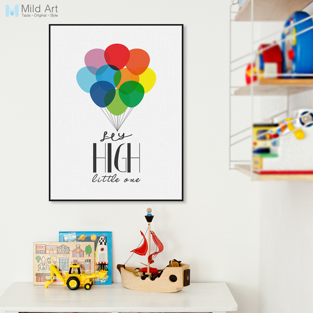 150 Best Printable Wall Art Quote Posters Nursery Kids: Nordic Colorful Ballons Minimalist Motivational Typography