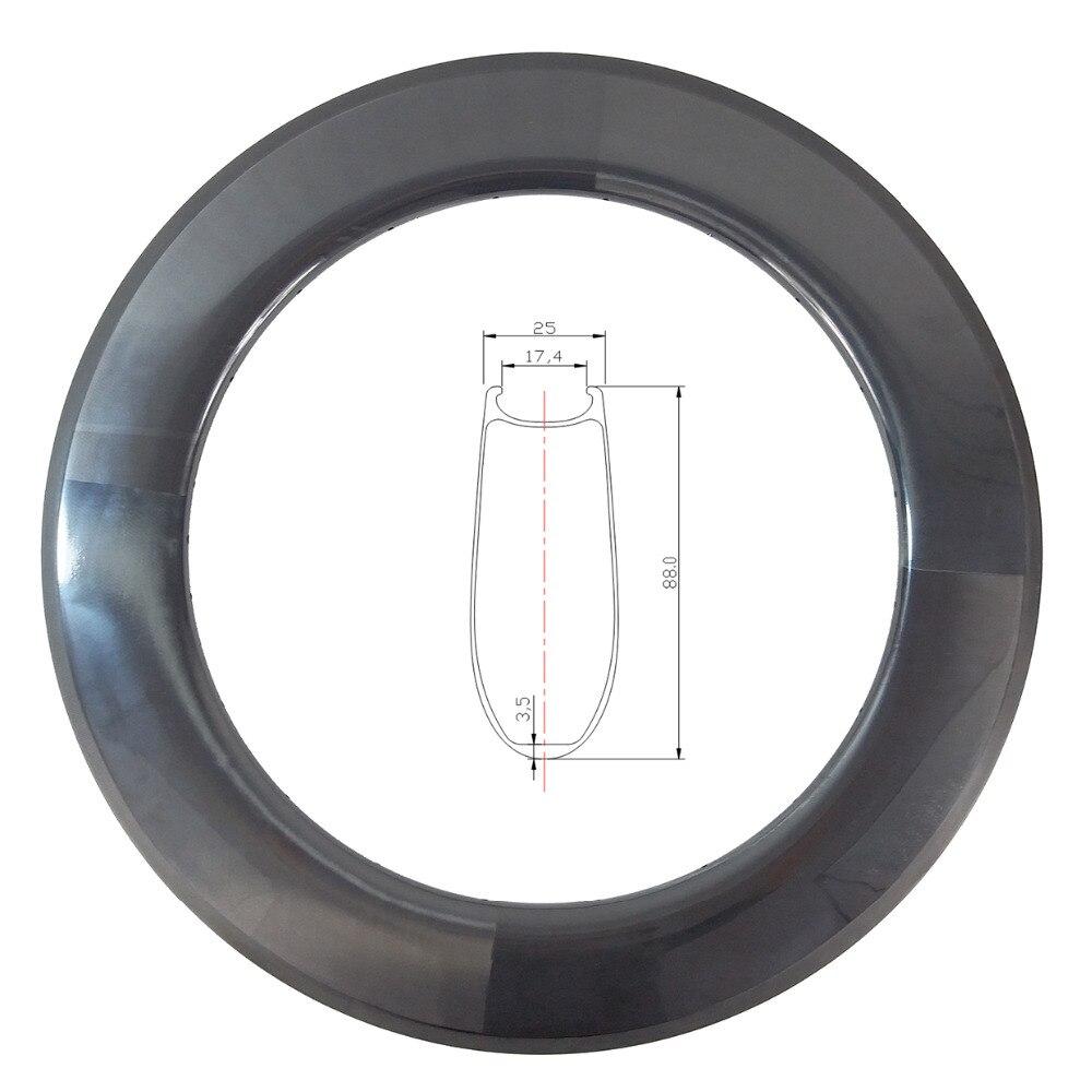 Competent 700c 88mm Clincher U Shape Road Bike Carbon Rim 25mm Wide Basalt Brake Track Ud 3k Matte Glossy 16 18 20 21 24 28 32 36 Holes For Fast Shipping