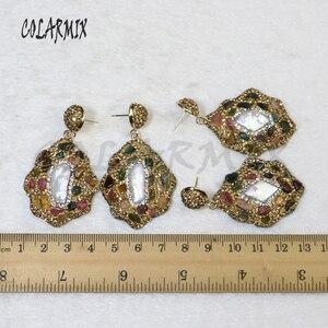 Image 5 - 5 pairs mix pedra brincos de cristal dourado balançar brincos brincos de gota natural arco íris cristal acessórios para mulher 8035