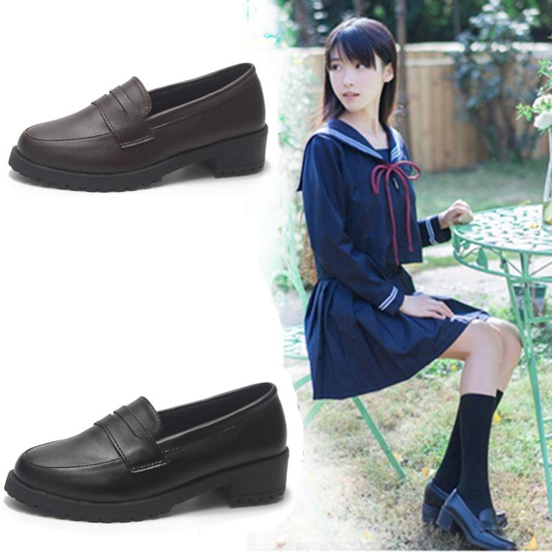 Japanese Student Shoes College Girl Lolita Student ShoesJK Commuter Uniform Shoes Loafer Low Heels Shoes