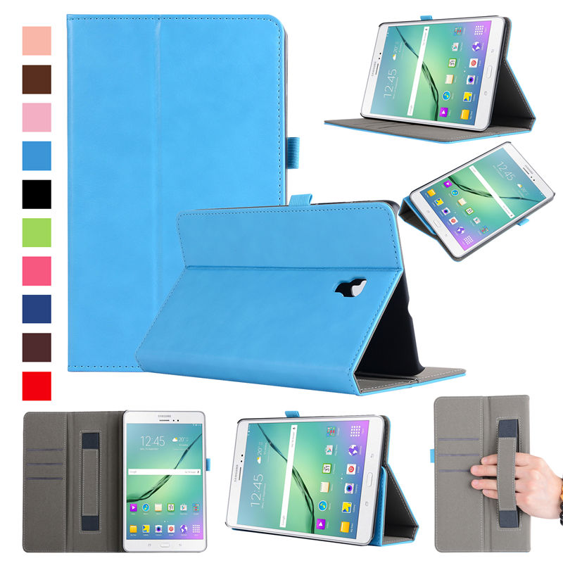 Luxury business Case for Samsung Galaxy Tab A 8.0 T380 T385 2017 8.0 inch Cover Funda Tablet PU Leather Hand Belt Holder card so luxury flip stand case for samsung galaxy tab 3 10 1 p5200 p5210 p5220 tablet 10 1 inch pu leather protective cover for tab3