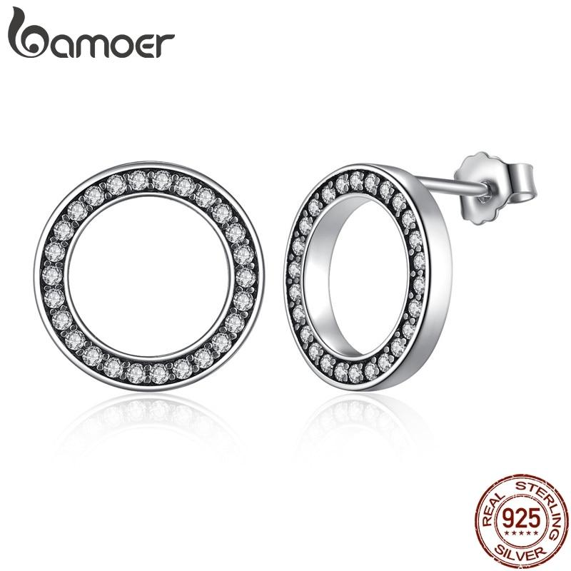 BAMOER siempre claro CZ de la plata esterlina 925 círculo pendientes CZ de la joyería regalo Oorbellen Bijoux PAS437