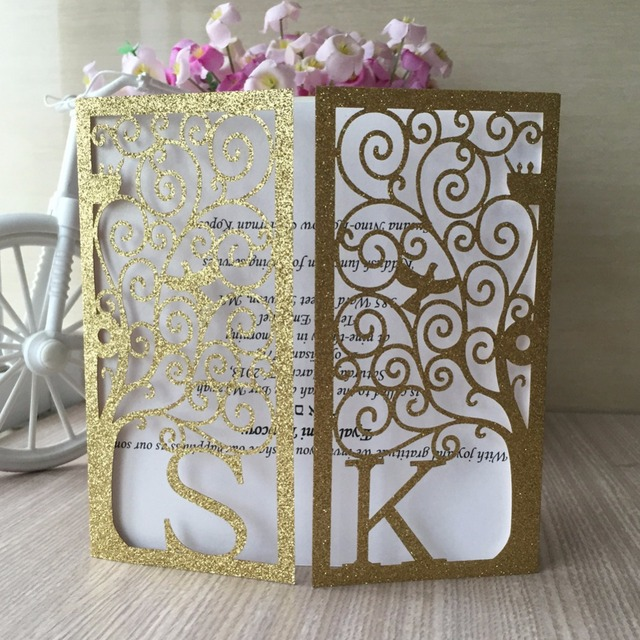 100pcs Lot Shinny Glitter Vine Vintage Flower Wedding Invitation Card Cover Only Custom