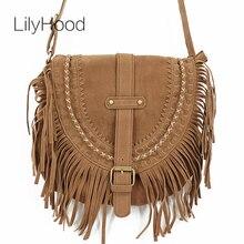 LilyHood 2020 kadın saçaklı askılı çanta Faux süet Fringe püskül Boho hippi çingene bohem kabile Ibiza tarzı çapraz vücut çanta