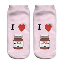 "Women Christmas Red Heart Medicine Casual Happy Socks New ""nutella"" Red Love Printed Funny Socks Unisex Low Cut Ankle Socks(China)"