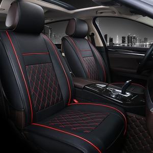 Image 4 - Cubierta Universal de 5 asientos para asiento de coche Protector de cojín delantero y trasero de cuero PU para la mayoría de los asientos del coche