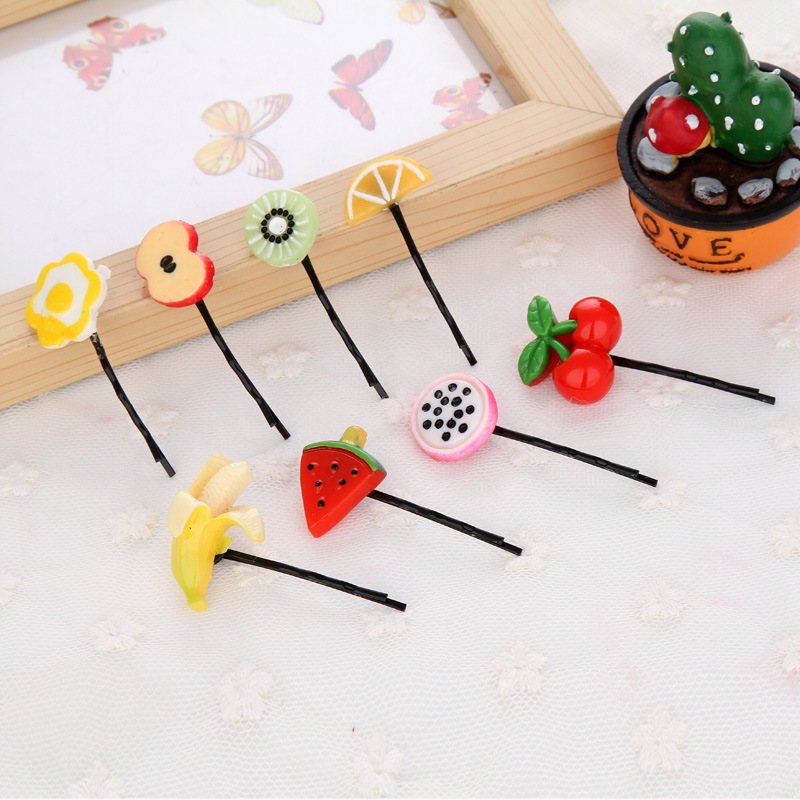 10pcs Japan Lovely Artificial Fruit Baby Hair Pins Banana Kiwi Cherry Girls Cute Bobby Pin Black Wordclip Kids Hair Accessories